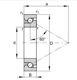 推力角接触球轴承BSB045075-T, 单向,接触角 α = 60°,限制公差