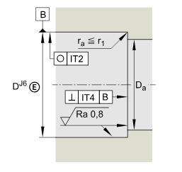 推力角接触球轴承 BSB045075-T, 单向,接触角 α = 60°,限制公差
